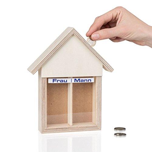 Geschenkbox Spardose Partnerkasse Haushaltskasse für Eheleute/Paare/Mann/Frau mit 2 Kammern, Holz, 22 x 18 x 5 cm -