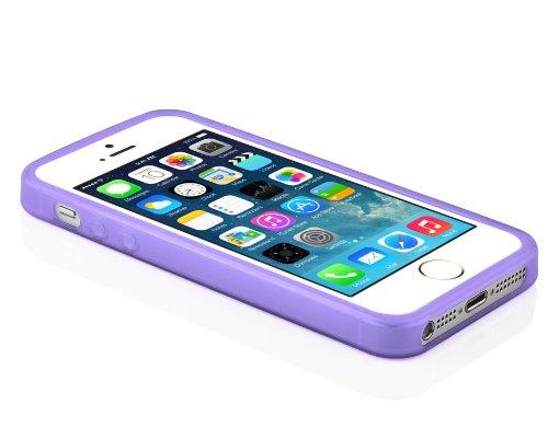 """Cadorabo - Housse Gel (silicone) design """"X"""" pour Apple iPhone 5C - Etui Coque Case Cover Bumper en SEMI-TRANSPARENT ORCHIDÉE VIOLETS"""