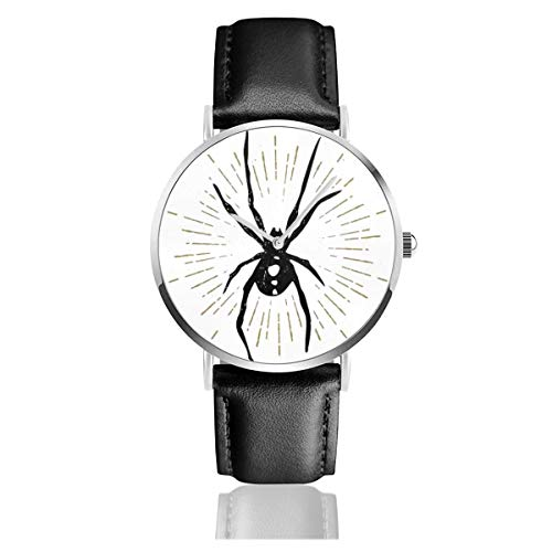 Business Analog Watches, Halloween Icon with A Textured Black Widow Spider Classic Stainless Steel Quartz Waterproof Wrist Watch with Leather Strap