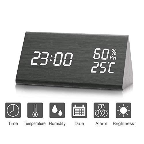 Despertador, Higrómetro, Termómetro Digital, Brillo de 3 Niveles, Temperatura y Humedad,...