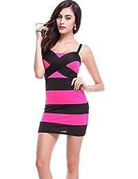 Blansdi manche sexy Stripe Clubwear Mini Slim Fit Soir¨¦e Robe de cocktail