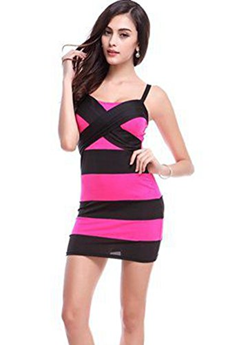 Blansdi manche sexy Stripe Clubwear Mini Slim Fit Soir¨¦e Robe de cocktail Rouge