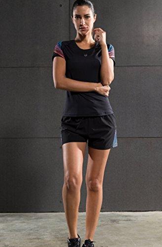 Cody Lundin al aire libre de deporte mujeres negras apretadas de la manga corta camisetas camiseta femenina delgada black-a