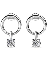 5fb90deac10a Pendientes de aro de plata con cristales Swarovski y aros de plata chapados  en rodio para