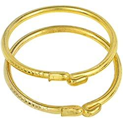 Dzinetrendz Gold covered plain and sober Cuff kada Bangle Nazariya, jewellery for new born child babies (0-9 months)