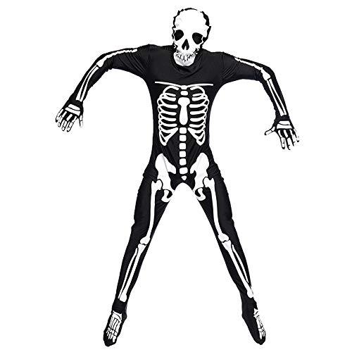 Kostüm Scary Skelett Übergröße - WXJWPZ Mechanische Knochen Schädel Kostüm Frauen Halloween Outfit Skeleton Kostüme Plus Size Overall Scary Bodysuit,XL