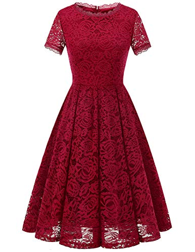 Dresstells Damen Elegant Kleid Spitzenkleid Kurzarm Cocktailkleider Party Ballkleid DarkRed L