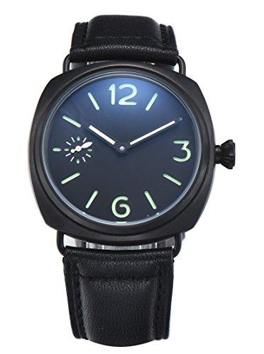 PARNIS 9092 klassische Handaufzug Herren-Armband-Uhr 45mm Herrenuhr 316L Edelstahl-Gehäuse Lederarmband Markenuhrwerk SeaGull Kaliber ST40