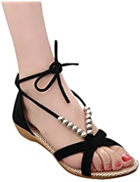 LvRaoo Donna Boemia Sandali con Perline Ankle-Wrap Lace up Infradito Peep  Toe Scarpe da 5f020b2dfa7