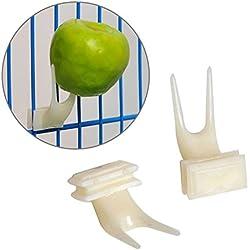 Comedero de plástico para pájaros, Horquilla de Fruta, Accesorios para Jaula, Loro y pigeón, alimento