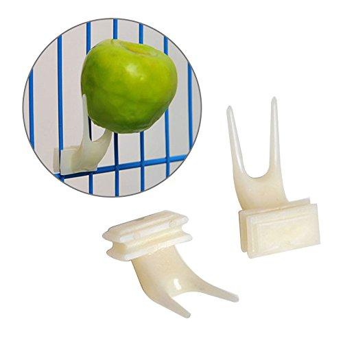 Sinotech Tenedor de plástico para alimentos de aves – Instalar accesorios para jaula de loro, accesorios de alimentación