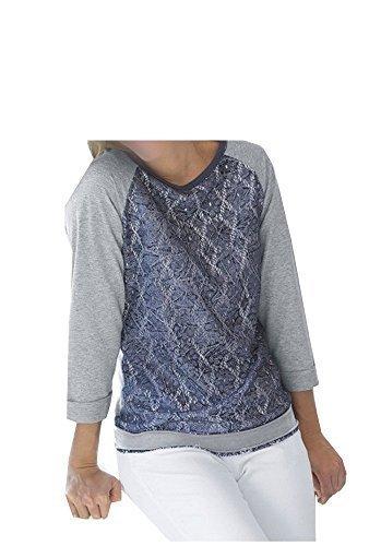 Sweatshirt mit Spitzenbesatz Damen von Steilmann Grau Melange