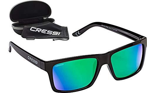 Cressi Unisex- Erwachsene Bahia Sunglasses Sport Sonnenbrillen, Schwarz/Spiegel Linse Grün, One Size
