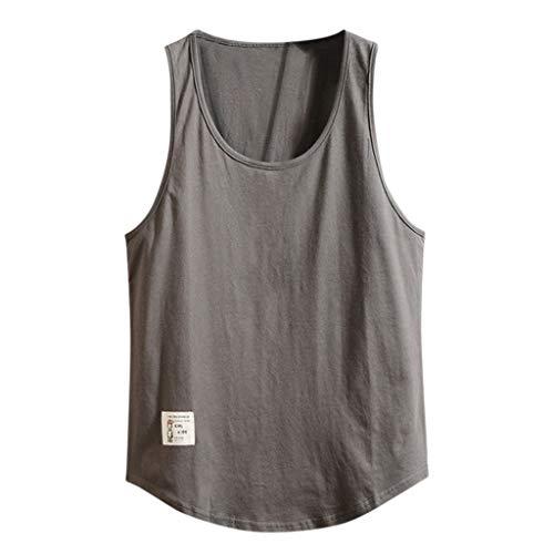 MNRIUOCII Tank Top Herren Tankshirt Niedrige Brust Tank Weste Mode MäNner Vest Sommer Reine Farbe Entspannung Sport TräGershirts Bluse GemüTlich T-Shirt