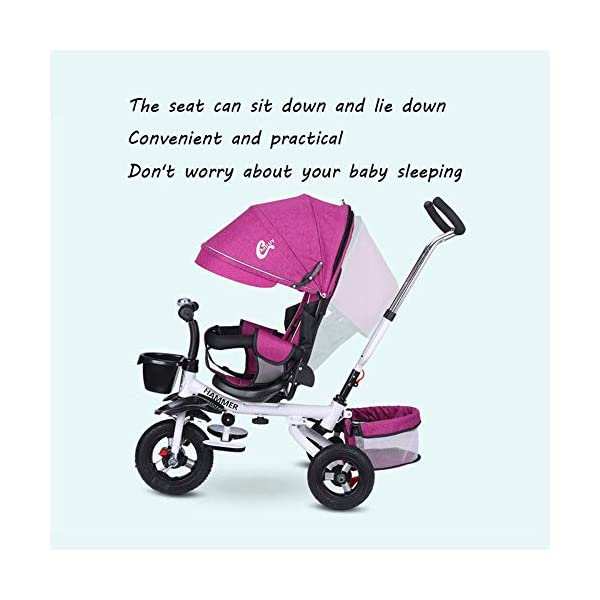 BGHKFF 4 In 1 Childrens Tricycles 8 Months To 6 Years 5-Point Safety Belt 360° Swivelling Saddle Kids' Trikes Adjustable Push Handle Childrens Folding Tricycle Maximum Weight 30 Kg,Gray BGHKFF ★ 4 in 1 multi-function: can be converted into a stroller and a tricycle. Remove the backrest and awning and use the putter as a tricycle. The best choice for 8 months to 6 years. ★ Tricycle foldable, space saving, easy to carry, is the best travel companion; adjustable push rod, push rod is directly connected to the tricycle handlebar through the steering link, parents can use the push rod to control the direction. ★ Rear wheel double brakes, 2 foldable footrests, non-slip handles and pedals, bells, 2 baskets, safe and comfortable driving experience. 5-point seat belt 4
