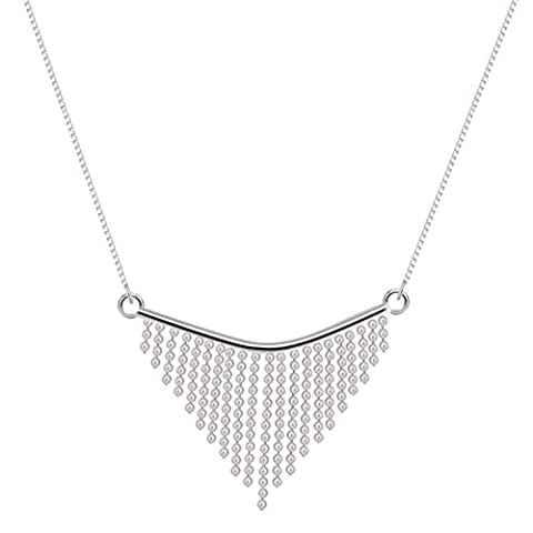 WRISTCHIE Sterling Silver Tiny Ball Triangle Tassels Simple Style Short Collier