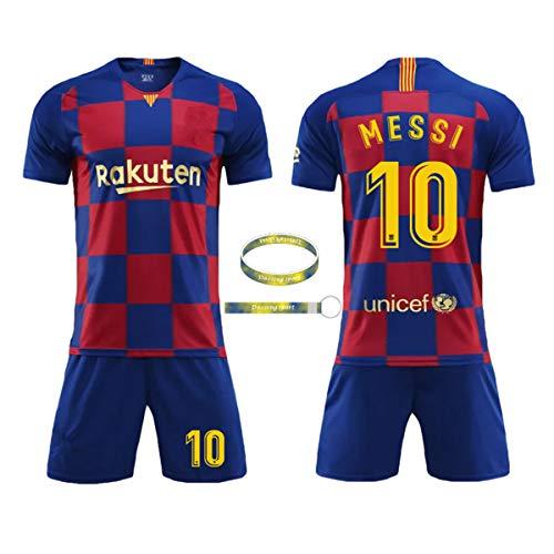 Daoseng Camiseta Jersey Futbol Barcelona 2018-2019 Traje de niños Manga Corta + Pantalones Cortos (19-20 Messi-10, T18 / Altura del niño 100-110CM)