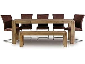 Table à manger extensible Empire II en bois massif brun 160 à 210