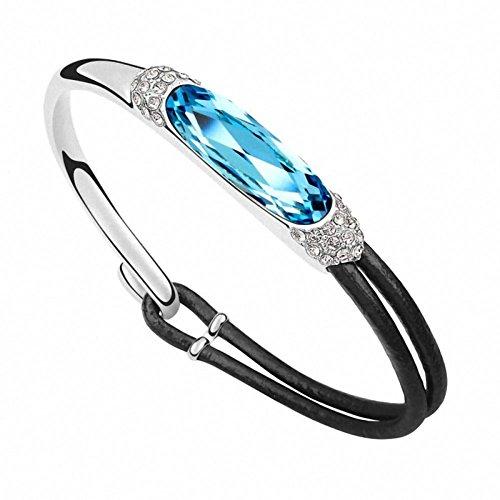 CHANGEABLE Damen Armband Leder Blau 18K Weißgold mit Swarovski Kristall Armkette Rund 0,3cm Länge 19CM