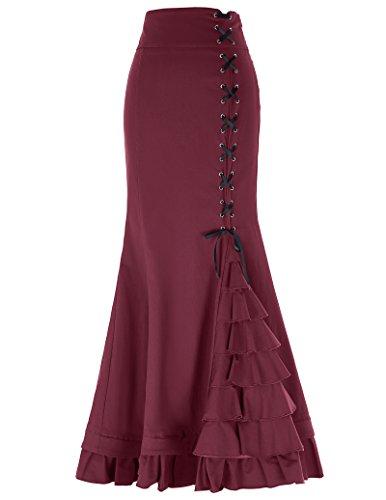 Frauen Retro Gothic Stempunk Lang Meerjungfrau Casual Rock L Wein BP203-3