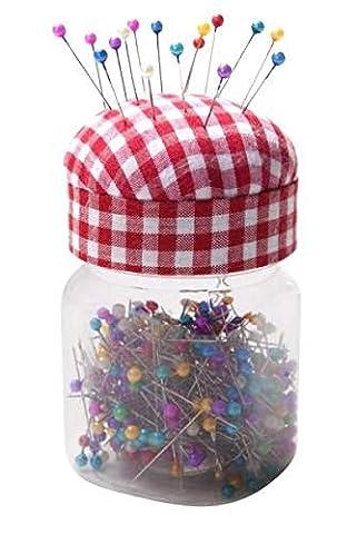 Porte-épingle boîte avec 400 épingles tête multicolore