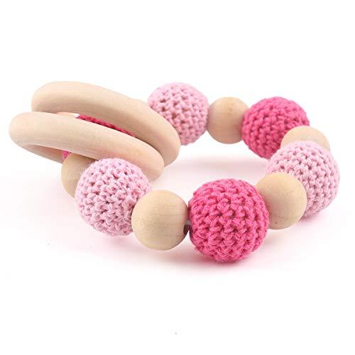 baby tete Anneau de Dentition en Bois Naturel pour Bébé Perles Crochet Rose Bricolage Bracelet Bijoux Hochets Baby Shower Gift