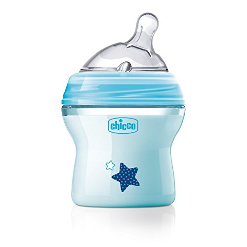 Chicco NaturalFeeling - Biberón con tetina inclinada especial para lactancia mixta, flujo normal, 150 ml, 0 m+, azul