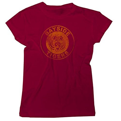 Saved By The Bell Bayside Tigers Circle Junior Maroon T-Shirt M -