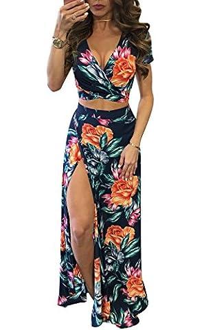 BestWahl Damen Sommerkleid Lang Chiffon Böhmen Blumen Maxi Beach Kleid Strandkleid Partykleid Vintage Kleid (DE 40, Blumendruck top rock set sexy)