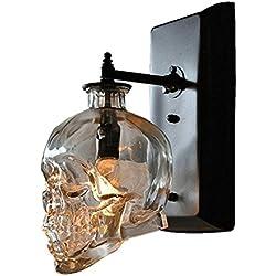 QINAIDI Lámpara De Pared De Hueso Transparente De Hueso De Cristal LED Ghost Skull Antique E14 Arte De La Antigüedad Industrial Lámpara De Pared De Simple Halloween Skull Head Lámpara