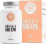 Omega-3 in HÖCHSTDOSIS, 1000mg reines Fischöl von ADDEDGREEN, 240 hochdosierte Kapseln mit 500mg EPA und 250mg DHA pro Kapsel
