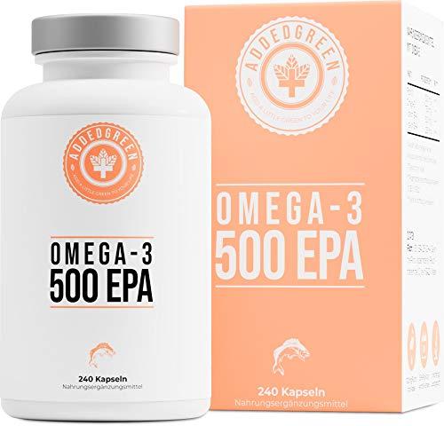 Omega-3 in HÖCHSTDOSIS, 1000mg reines Fischöl von ADDEDGREEN, 240 hochdosierte Kapseln mit 500mg EPA und 250mg DHA pro Kapsel - Omega 3 Dha Kapseln