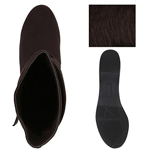 Stiefelparadies Damen Leicht Gefütterte Stiefel Schlupfstiefel Wildleder-Optik Stiefeletten Metallic Wedges Boots Keilabsatz Schuhe Flandell Dunkelbraun Schnalle