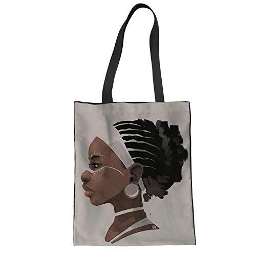 Tote Womens Große Handtasche (FANGDADAN Canvas Tote,Schultertaschen Für Frauen Mode Afrika Lady Gedruckt Leichten Reisen Handtasche Mädchen Student Schultasche Wiederverwendbar Langlebige Große Top-Handle Tasche)