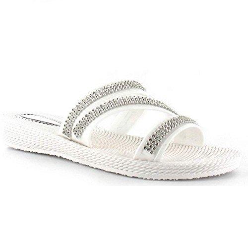 Ella - Ciabatte da donna modello Grace con fascette di strass, sandali a punta aperta con zeppa, disponibili nei numeri dal 35,5 al 42 White