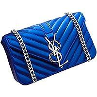 HKHD L&V Mode Damen Matte Frosted Jelly Bag Kette Tasche Schulter Messenger Bag Handtasche Mini Bag(Blau)
