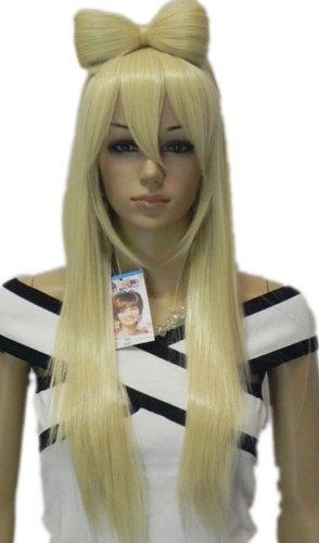 QIYUN.Z Haarteile Damen Perücken Lange Blonde Gaga Bogen Bowknot Gerade Hitzebeständige Faser Synthetische Ladys Haar Voller Anime Cosplay Kostüm Perücke