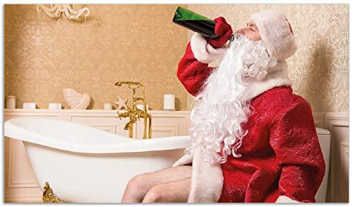Wallario Herdabdeckplatte/Spritzschutz aus Glas, 1-teilig, 90x52cm, für Ceran- und Induktionsherde, Betrunkener Weihnachtsmann mit Weinflasche auf dem Klo -