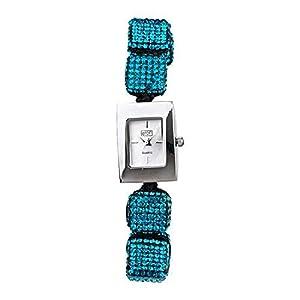 Eton 3020L Reloj De Moda Para Damas Correa De Pulsera Ajustable Cubo De Cristal Color Aqua