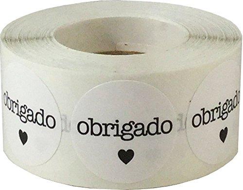 Blanco Circulo con Negro Obrigado Pegatinas, 25 mm 1 Pulgada Redondo, 500 Etiquetas en un Rollo