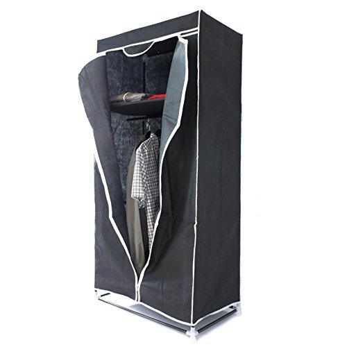 ECD Germany Stoffschrank - aus Vliesgewebe - 75x50x160 cm - Schwarz - Kleiderschrank - Faltschrank
