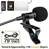 Professional Grade Lavalier Lapel Microphone  Omnidirectional Mic with Easy Clip On System  Perfect for Recording Youtube/Interview/Video Conference/Podcast/Voice Dictation/iPhone