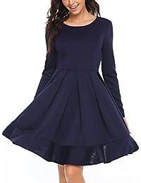 1701aaf423b046 Finejo Damen Abendkleid Partykleid Elegantes Vintage Hohe Taille  Cocktailkleid Lässig Party Herbst