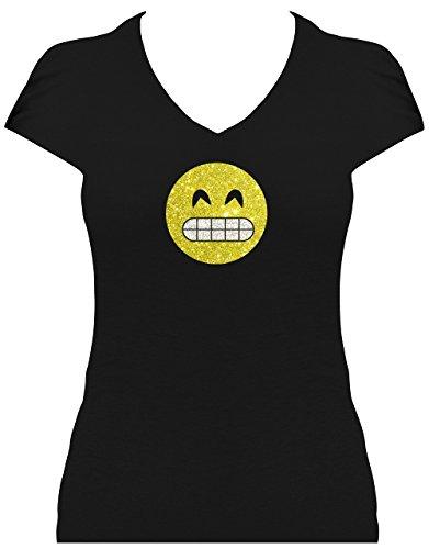 gantes Shirt Damen GLITZERDRUCK Emoji Super Funkelnd Smiley Emoticon T-Shirt Karneval Fasching Kostüm Breites Grinsen mit Zähnen, S (Grinsen Emoji Kostüm)