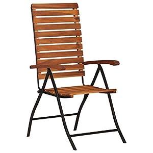 Festnight 2er Set Klappstühle aus Akazienholz und Stahlrahmen | Holz Klappbare Essstühle Gartenstühle Klappsessel Garten…