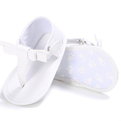 Vovotrade Primer Paso Chanclas Niñito Bebé Niña Cuna Zapatos Recién Nacido Flor Suela Blanda Antideslizante Zapatillas Sandalias (12cm,6-12 Meses, Blanco)