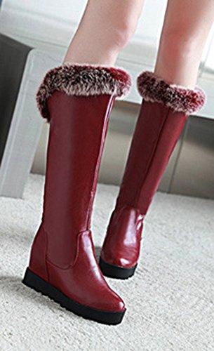 Aisun Femme Classique Chaussures Compensées Plateforme Hautes Cuissardes Bottes Rouge