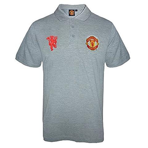 Manchester United FC Herren Polo-Shirt mit originalem Fußball-Wappen - Grau - M (Manchester Zu Weihnachten)