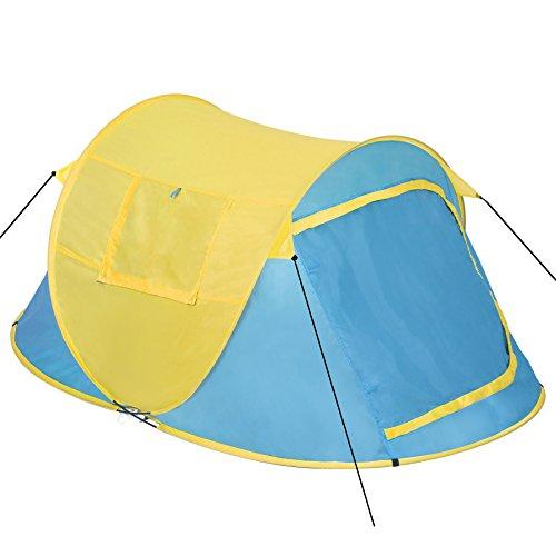 TecTake 800213 - Pop-Up Wurfzelt für 2 Personen, Inkl. Spannseile, Heringe und praktischer Tragetasche - Diverse Farben (Blau-Gelb | Nr. 401673)