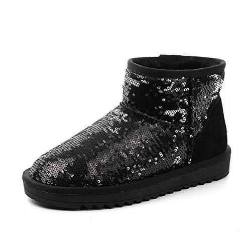 DANDANJIE Women es Snow Boots Classic Mid-Calf Boot Flat Heel Slitrslip Shoes Ladies Winter Warm Ankle Boots,Black,35EU Classic Mid-boot